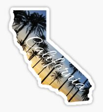 California State Outline with Palms at Sunset Sticker