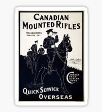 WW1 Recruitment Poster - Canadian Mounted Rifles Sticker