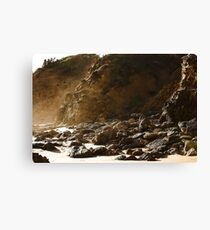 Seaspray rocky shore Canvas Print