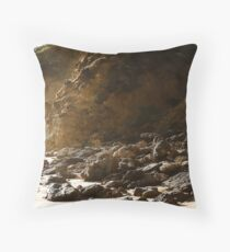 Seaspray rocky shore Throw Pillow