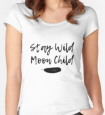 Stay Wild Moon Child Wiccan New Age Feather Design Women's Fitted Scoop T-Shirt