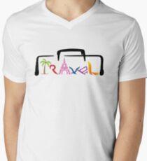 Travel Tshirt Cute Graphic Men's V-Neck T-Shirt