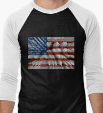 USA 3D Flag Men's Baseball ¾ T-Shirt