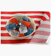 Red, white and blue patriotic ice cubes Poster