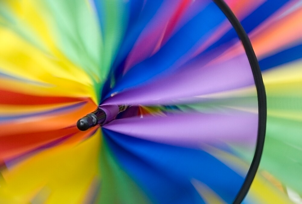 Wind Vane - A spiral wind vane made of colorful strips of cloth and sprockets by Eyal Nahmias