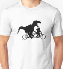 Gone Squatchin cycling with T-rex Unisex T-Shirt