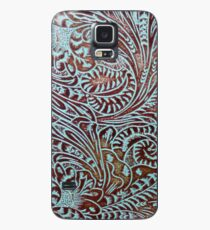 Aqua Brown Tooled Leather Case/Skin for Samsung Galaxy