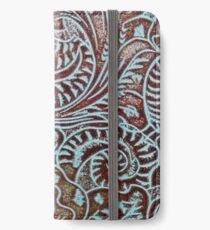 Aqua Brown Tooled Leather iPhone Wallet/Case/Skin