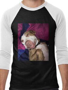 Puppy The Pitbull Cute Funny Sleeping Dog Pit Bull Animals Sticker, Phone Case, Shirt, Mug, Pillow, Poster, Etc Men's Baseball ¾ T-Shirt