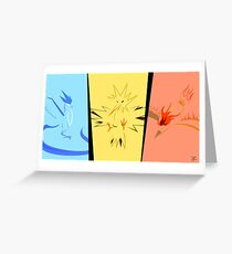 Minimalist Pokemon Legendary Birds Greeting Card