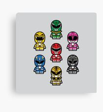 Power Chibi Rangers - Mighty Morphin Pattern Canvas Print