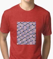 Pastel Pink and Blue Hexagon Pattern  Tri-blend T-Shirt