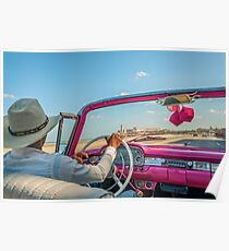 Driving on Malecon -Old Havana, Cuba Poster