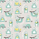 Lazy Sloth - mint and yellow pattern design by Ewa Brzozowska