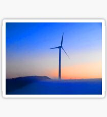 Alternative energy wind mills in the snow Sticker