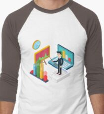 Business Presentation Isometric Concept with Businessman, Laptop, Charts T-Shirt