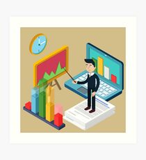 Business Presentation Isometric Concept with Businessman, Laptop, Charts Art Print