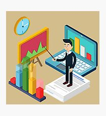 Business Presentation Isometric Concept with Businessman, Laptop, Charts Photographic Print