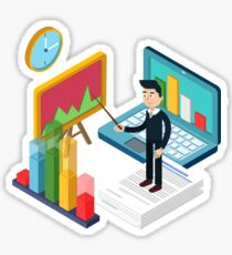 Business Presentation Isometric Concept with Businessman, Laptop, Charts Sticker