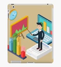 Business Presentation Isometric Concept with Businessman, Laptop, Charts iPad Case/Skin