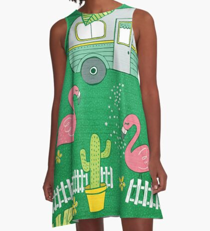Campsite Flamingos A-Line Dress