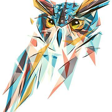 blue owl lowpoly by fazlicakir