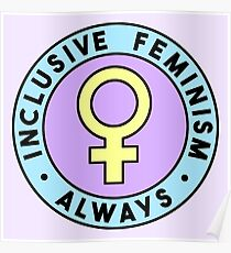 Inclusive Feminism Always • riotcakes • Pastel Round Design Poster