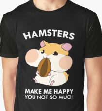 Hamsters Make Me Happy Funny Blushing Hamster Graphic T-Shirt