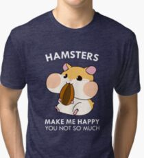 Hamsters Make Me Happy Funny Blushing Hamster Tri-blend T-Shirt
