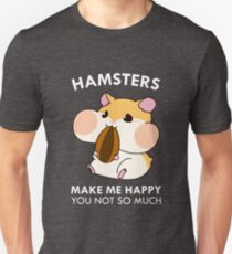 Hamsters Make Me Happy Funny Blushing Hamster Unisex T-Shirt