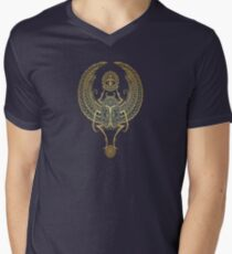 Golden Blue Winged Egyptian Scarab Beetle with Ankh  Men's V-Neck T-Shirt