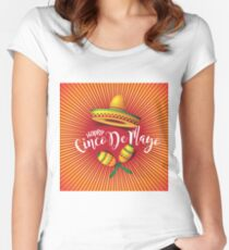 Festive Cinco De Mayo Sombrero, maracas, burst and lettering design. To celebrate the Mexican holiday on the fifth of May Women's Fitted Scoop T-Shirt