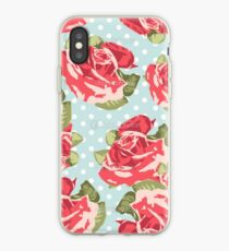 Pink & Blue Rose Pattern iPhone Case