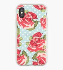 Vinilo o funda para iPhone Patrón rosado y azul de la rosa