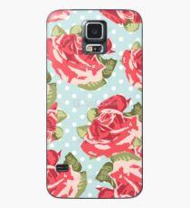 Pink & Blue Rosenmuster Hülle & Klebefolie für Samsung Galaxy
