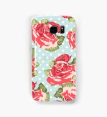 Pink & Blue Rose Pattern Samsung Galaxy Case/Skin