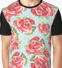 Pink & Blue Rose Pattern Graphic T-Shirt