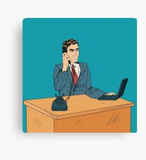 Businessman Pop Art Banner. Working Man Speaking on the Phone at Office with Laptop Canvas Print