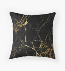Black and gold Marble | Texture #home #lifestyle Throw Pillow