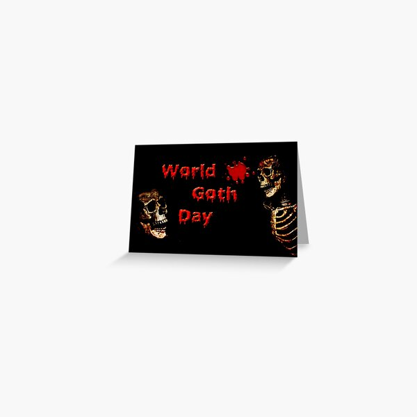 Word Goth Day (Skeleton & Skull) Greeting Card