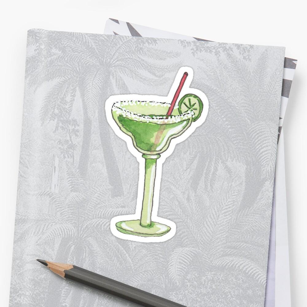 Illustrated Watercolor Margarita :: Bar Drink by kimBLiSS