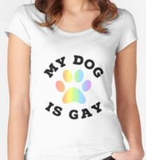 My dog is gay Women's Fitted Scoop T-Shirt