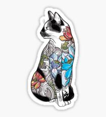 Chat en Lotus Tatouage Sticker