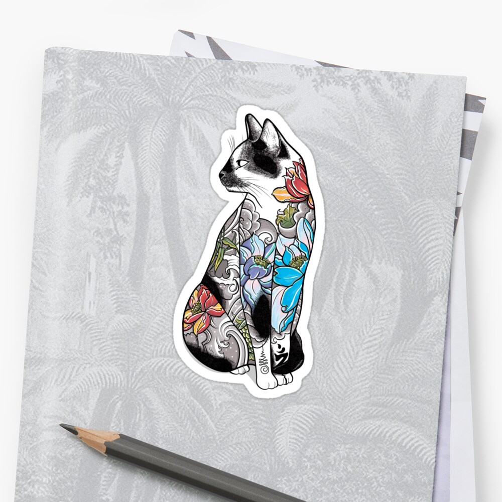 Cat in Lotus Tattoo Sticker