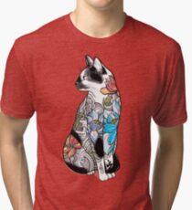 Cat in Lotus Tattoo Tri-blend T-Shirt