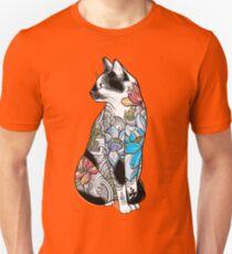 Cat in Lotus Tattoo Unisex T-Shirt