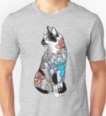 Cat in Lotus Tattoo Unisex T-Shirt