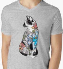 Cat in Lotus Tattoo Men's V-Neck T-Shirt