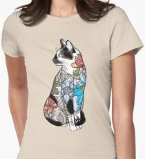 Cat in Lotus Tattoo Womens Fitted T-Shirt