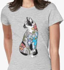 Cat in Lotus Tattoo Women's Fitted T-Shirt